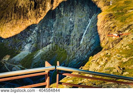 View Of Scenic Mountains And Waterfall From Trollstigen Viewpoint In Norway Europe, Popular Tourist