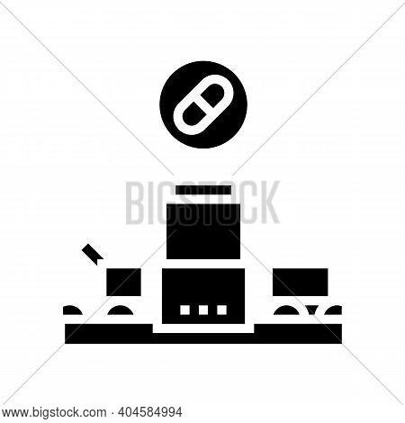 Medicine Manufacturing Plant Glyph Icon Vector. Medicine Manufacturing Plant Sign. Isolated Contour