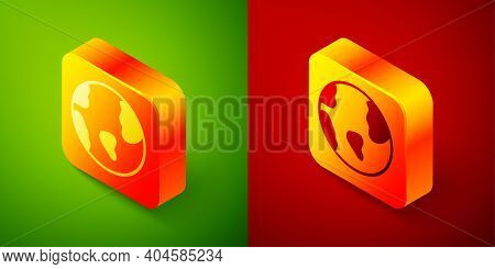 Isometric Earth Globe Icon Isolated On Green And Red Background. World Or Earth Sign. Global Interne