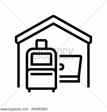 Baggage And Laptop In House Line Icon Vector. Baggage And Laptop In House Sign. Isolated Contour Sym