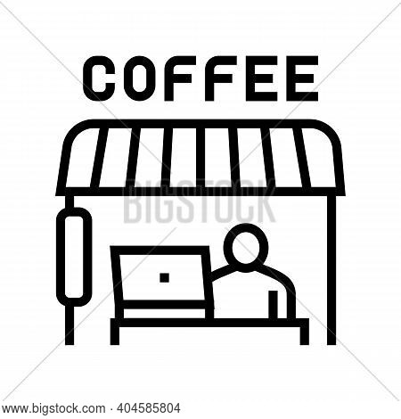Remote Working In Cafeteria Line Icon Vector. Remote Working In Cafeteria Sign. Isolated Contour Sym