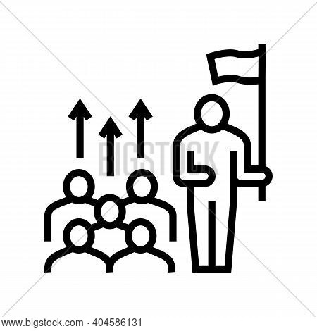 Leadership Team Line Icon Vector. Leadership Team Sign. Isolated Contour Symbol Black Illustration