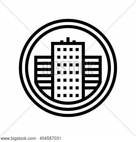 City Business Center Sign Line Icon Vector. City Business Center Sign Sign. Isolated Contour Symbol