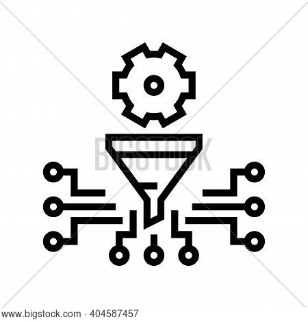 Work Process Filtration Line Icon Vector. Work Process Filtration Sign. Isolated Contour Symbol Blac