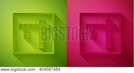 Paper Cut Bingo Icon Isolated On Green And Pink Background. Lottery Tickets For American Bingo Game.