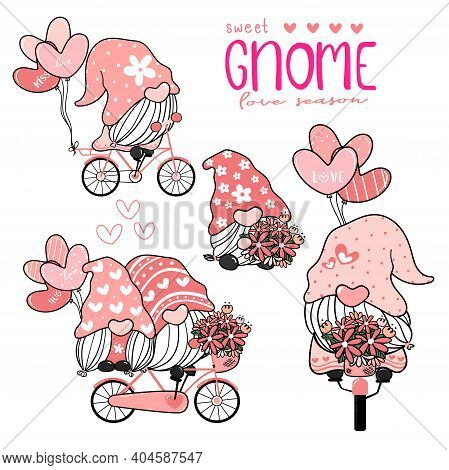 Sweet Cute Gnome In Pink Hat On Bicycle With Heart Balloons Collection, Couple Lover Gnome Love Vale
