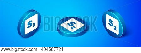 Isometric Bingo Icon Isolated On Blue Background. Lottery Tickets For American Bingo Game. Blue Circ