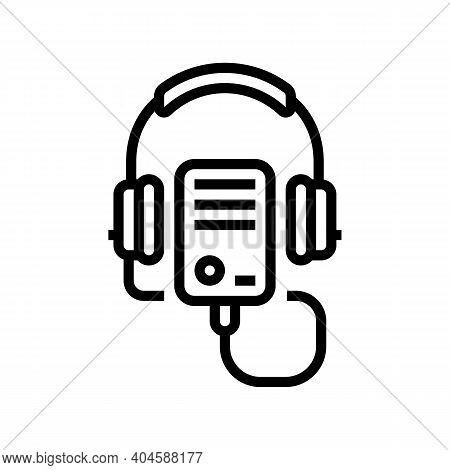 Audio Guid Player Line Icon Vector. Audio Guid Player Sign. Isolated Contour Symbol Black Illustrati