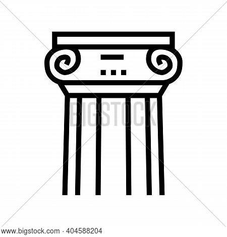 Greek Column Line Icon Vector. Greek Column Sign. Isolated Contour Symbol Black Illustration