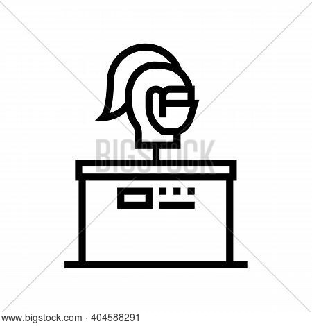 Medieval Rider Knight Line Icon Vector. Medieval Rider Knight Sign. Isolated Contour Symbol Black Il