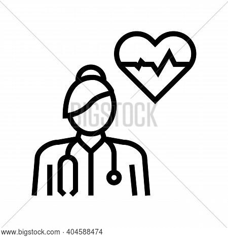 Cardiology Medical Specialist Line Icon Vector. Cardiology Medical Specialist Sign. Isolated Contour