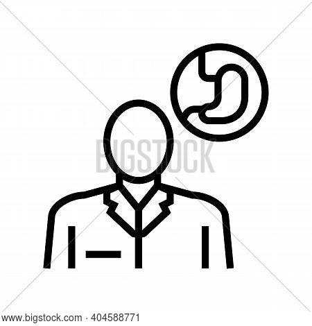 Gastroenterology Medical Specialist Line Icon Vector. Gastroenterology Medical Specialist Sign. Isol