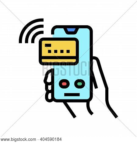 Pay Pass Card Phone Color Icon Vector. Pay Pass Card Phone Sign. Isolated Symbol Illustration