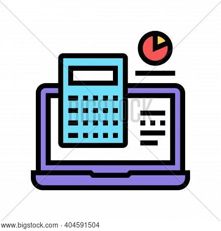 Computer Calculator Color Icon Vector. Computer Calculator Sign. Isolated Symbol Illustration