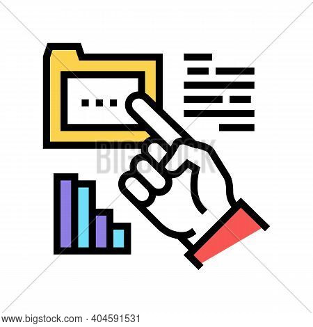 Hand Showing On Folder Color Icon Vector. Hand Showing On Folder Sign. Isolated Symbol Illustration