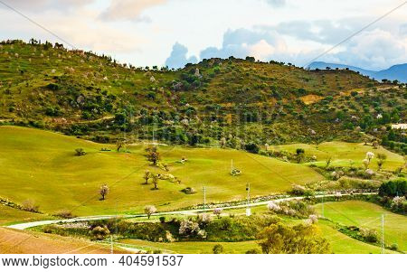Spanish Nature Landscape. Hills, Countryside Surrounding Lake Embalse Del Guadalhorce, Ardales Reser