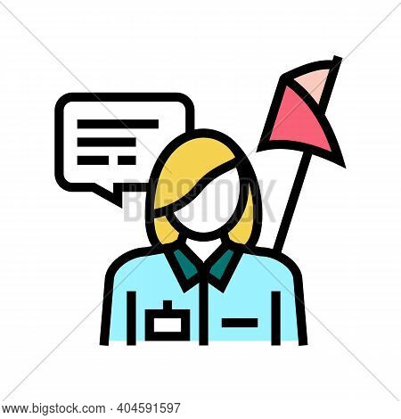 Guid Museum Worker Color Icon Vector. Guid Museum Worker Sign. Isolated Symbol Illustration