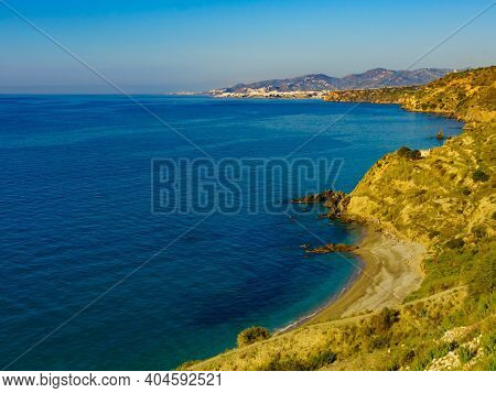 Spanish Coast Landscape, Cliffs In Andalusia.