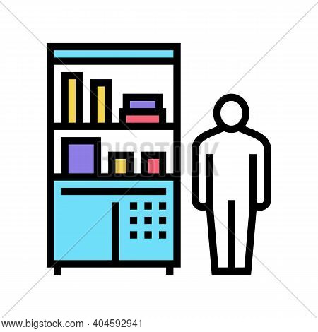 Drugstore Worker Showcase With Pills Color Icon Vector. Drugstore Worker Showcase With Pills Sign. I