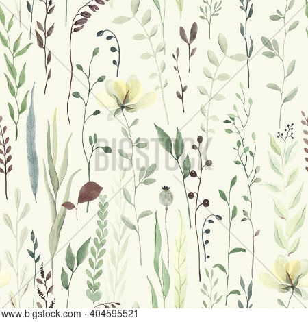 Floral seamless pattern with greenery wildflowers, random abstract plants, flowers and leaves. Watercolor illustration in pastel green colors.