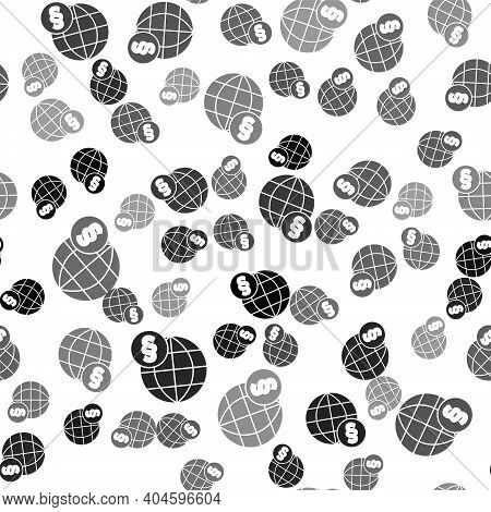 Black International Law Icon Isolated Seamless Pattern On White Background. Global Law Logo. Legal J