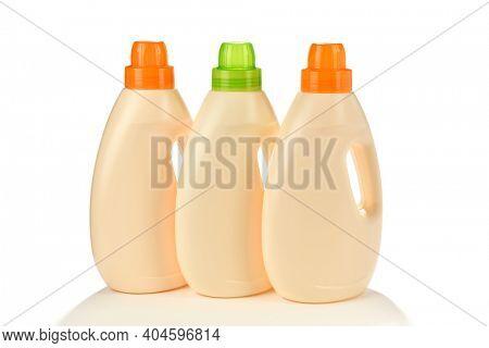 Set of Laundry Detergent Bottles isolated on white background