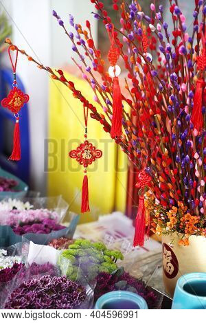 Lucky knot hanging on flower for Chinese new year greeting,Chinese character on knot and pot means good bless for new year,word on coin mean Kangxi Dynasty