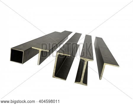 3d rendering of set of typical steel construction beams on white