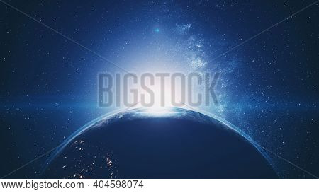 Sunset of Earth planet silhouette rotating with blue halo orbit. Bright sun hiding with flare in dark outer space with stars. Solar system 3d animation with astronomy concept