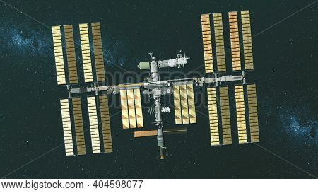 Closeup Earth satellite International Space Station with cosmos discovery mission. Golden solar panels elements of orbital multinational ISS gravity fly at milky way with dark starry sky. 3d