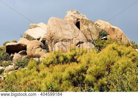 Large Rocks And Boulders On A Rural Hillside Surrounded By Chaparral Plants Taken At Windswept Badla