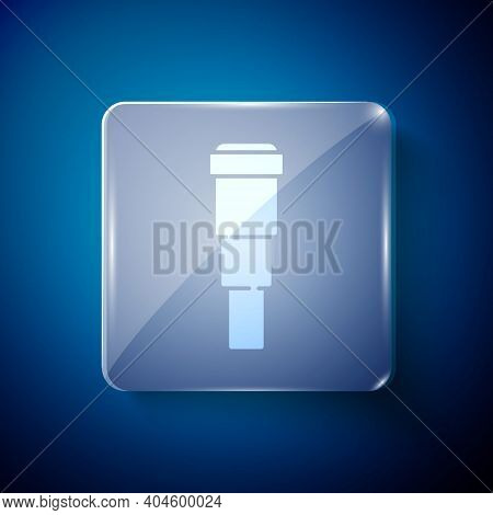 White Spyglass Telescope Lens Icon Isolated On Blue Background. Sailor Spyglass. Square Glass Panels
