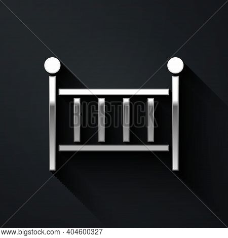Silver Baby Crib Cradle Bed Icon Isolated On Black Background. Long Shadow Style. Vector