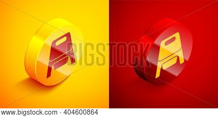 Isometric Baby Potty Icon Isolated On Orange And Red Background. Chamber Pot. Circle Button. Vector