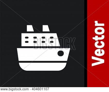 White Cruise Ship Icon Isolated On Black Background. Travel Tourism Nautical Transport. Voyage Passe