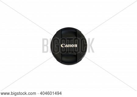 Grodno, Belarus - 01.22.2021: Canon Slr Camera Lens Cap