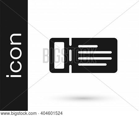 Black Cruise Ticket For Traveling By Ship Icon Isolated On White Background. Travel By Cruise Liner.