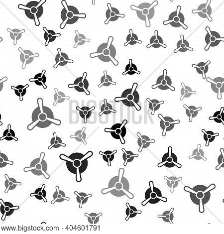 Black Plane Propeller Icon Isolated Seamless Pattern On White Background. Vintage Aircraft Propeller