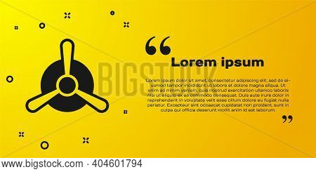 Black Plane Propeller Icon Isolated On Yellow Background. Vintage Aircraft Propeller. Vector