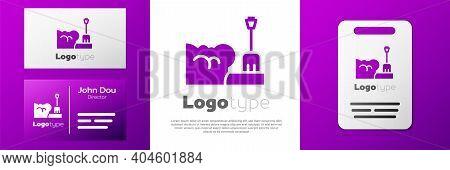 Logotype Shovel In Snowdrift Icon Isolated On White Background. Logo Design Template Element. Vector