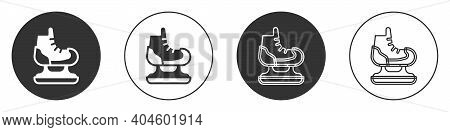 Black Skates Icon Isolated On White Background. Ice Skate Shoes Icon. Sport Boots With Blades. Circl
