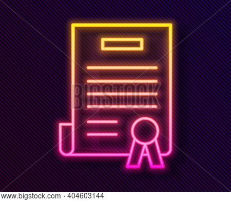 Glowing Neon Line Declaration Of Independence Icon Isolated On Black Background. Vector Illustration