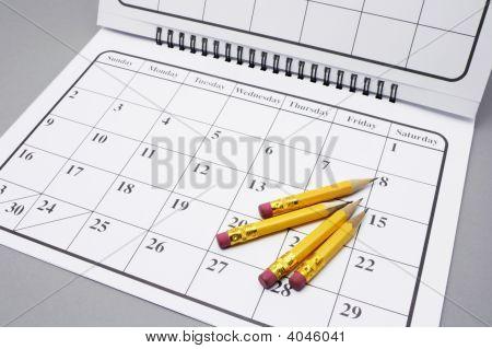 Pencils On Calendar