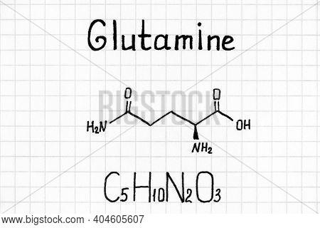 Handwriting Chemical Formula Of Glutamine. Close Up.