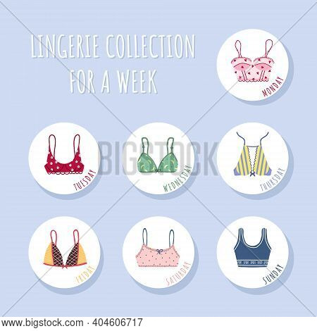 Modern Female Bra Collection For A Week. Cute Colorful Weekly Brassieres With Bows And Lace. Trendy