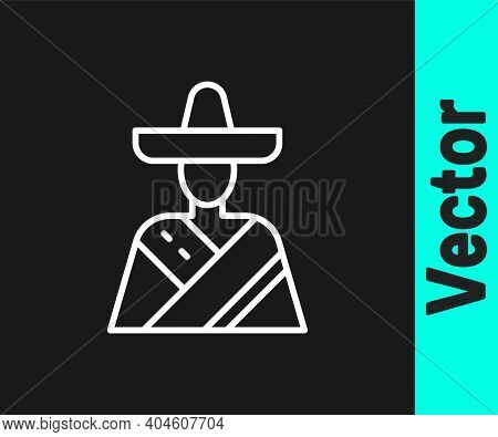 White Line Mexican Man Wearing Sombrero Icon Isolated On Black Background. Hispanic Man With A Musta