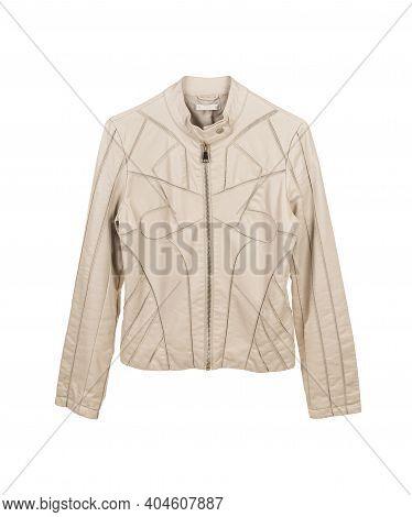 Women's Leather Jacket Isolated On White Background.