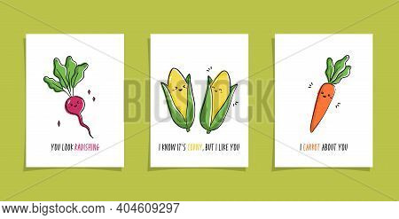 Set Of Cards With Veggies And Funny Phrases. Puns With Cute Radish; Corns And Carrot. Kawaii Drawing