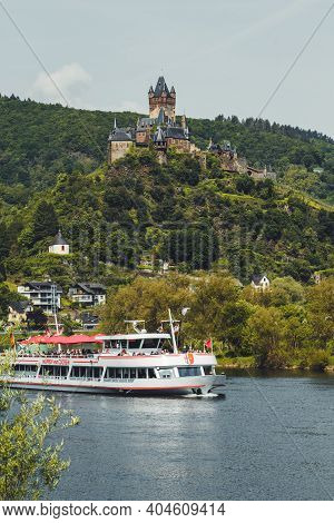Cochem, Germany - May 23 2019: View Of The Picturesque Town Cochem With Its Famous Imperial Castle O
