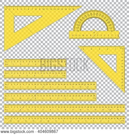 A Set Of Plastic Rulers With Shadow On A Transparent Background. School Supplies. Triangle Ruler, Pr